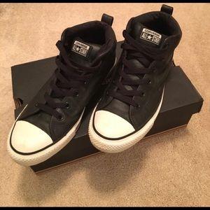 Black Leather Converse Chuck Taylors. Size 9